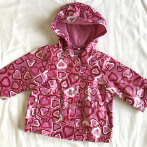 Baby Gap Girls 3 - 6  Months Lined Rain Coat Pink Red White Hearts Photo