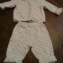 Baby Gap Girls 3-6m 2 Pc Pant Ls Shirt Outfit White W Pink Bears Photo