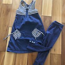 Baby Gap Girls 4/5 Outfit Lot Blue Stripe Tank Dress and Leggings Euc Photo
