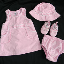 Baby Gap Girls 4 Piece Pink Bow Dress Set Hat Shoes Size 3 6 Months Photo