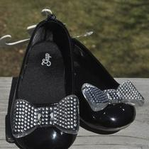 Baby Gap Girls Black Patent Ballet Flats With Perforated Plastic Bow Size 8 Nwt  Photo