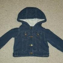 Baby Gap Girls Blue Faux Denim Snap Button Hooded Jacket W/ Bear Ears Sz 6-12m Photo