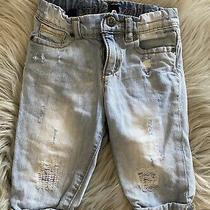 Baby Gap Girls Denim Ripped Rolled Cuff Capri Adjustable Waist Jeans 12-18m Euc Photo
