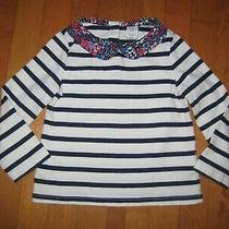 Baby Gap Girls L/s Blue Ivory Stripe Floral Peter Pan Collar Top 18-24 Months Photo