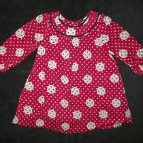 Baby Gap Girls Long Sleeve Dark Red Button Print Fully Lined Dress 6-12 Months Photo