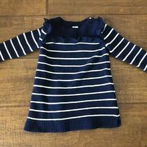 Baby Gap Girls Navy White Stripe Ruffle Sweater Dress Size 12-18 Months Photo