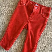 Baby Gap Girls Red Velvet Jeans Pants Christmas Holiday Size 6-12 Months Photo