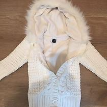 Baby Gap Girls Size 18-24  White Hooded Cable Knit Sweater Fur Coat Jacket Photo