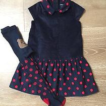 Baby Gap Girls Size 4 Navy Blue Red Polka Dot Holiday Dress Tights Nwt Photo