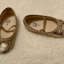 Baby Gap Girls Size 6 Glitter Ballet Slip Ons Gold Photo