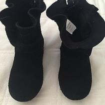 Baby Gap Girls Size 8 Black Suede Boots Ruffle Photo