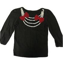 Baby Gap Girls Toddler Long Sleeve Bow Shirt Black Red 2t Photo