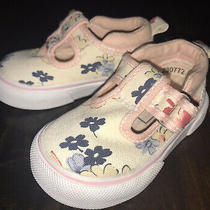 Baby Gap Girls Toddler Shoes Size 4 Floral Mary Janes Canvas  Photo