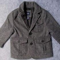 Baby Gap Gray Herringbone Tweed Jacket W/black Elbow Patches-12-18 mos.nwt Jnl Photo