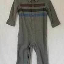 Baby Gap Gray Long Sleeve Pants Romper With Red Black Blue Stripes 18-24 Months Photo