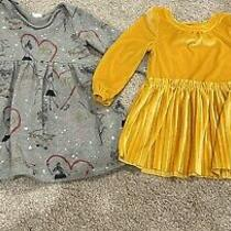 Baby Gap Heart Dress and Cat and Jack Velour Pleated Yellow Dress Lot 2t Photo