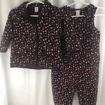 Baby Gap Infant Girl Purple Flowered Corduroy Romper & Shirt Outfit 12-18 Months Photo