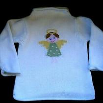 Baby Gap Infant Girls White Sweater Pink Green Angel Size 6-12 Months Photo