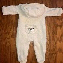 Baby Gap Infant Ivory White Teddy Bear Hood Snap One Piece Outfit Pjs Zip Jumper Photo