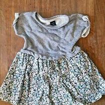 Baby Gap Jersey Dress Size 2 Gray Green Floral Print Spring Summer Casual Gs Photo