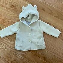 Baby Gap Knit Ivory Cream Bear Hood Sweater Cardigan 6-12 Months Photo