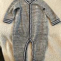 Baby Gap Long Sleeve Button Up Romper One Piece Boy 12-18m Gray Navy Blue Stripe Photo