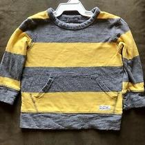 Baby Gap Long Sleeve Striped Sweatshirt With Front Pocket Boy 18-24m Gray/yellow Photo