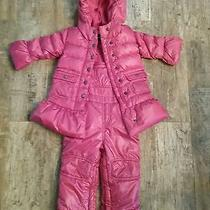 Baby Gap Long Warmest Down Puffer Jacket Winter Coat Pink  Snow Bibs Set 18-24m Photo