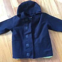 Baby Gap Navy Wool Hooded Coat Removable Blue Fleece Liner Sz 2 Yr Photo