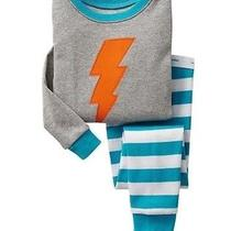 Baby Gap Nwt Aqua Blue Gray Stripe Lightning Bolt 2-Pc Long Pajamas Pjs 12 18 M Photo