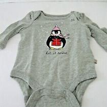 Baby Gap One Piece 0-3 Months L/s Heather Gray Penguin Let It Snow Present Photo