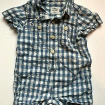 Baby Gap One Piece Blue Checkered Outfit Size 0-3 Months Photo