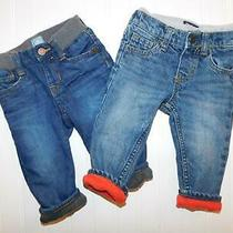 Baby Gap Oshkosh 9 & 6-12 Months Boy Fleece Lined Winter Denim Jeans Clothes Lot Photo