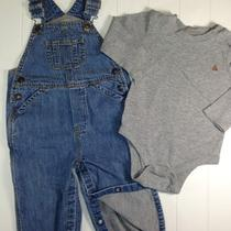 Baby Gap Outfit Boy 18 24 Months Jersey Lined Overalls Waffle One Piece Shirt  Photo
