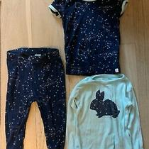 Baby Gap Pajamas 12-18 Months Constellations Space Stars Bunny Blue 3 Pieces Pjs Photo