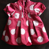 Baby Gap Pink Bubble Polka Dot Dress 3-6 Months Photo