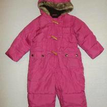 Baby Gap Pink Quilted Fully Lined Snowsuit 12 18 Months Hcb Fur Hood Snow Suit Photo