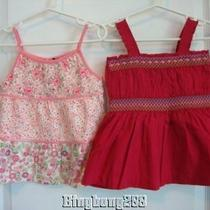 Baby Gap Pink Tiered Floral & Bright Pink Tank Top Tops Girl Size 3 3t 3 Years Photo