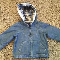 Baby Gap Plaid Hood Denim Jean Jacket Baby Lightweight Cotton Size 6-12 Months Photo