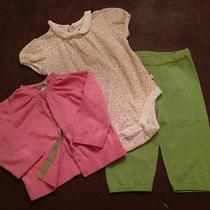 Baby Gap Pottery Barn Girls Outfit Pink Green Flowers Sweater Pants Top 6-12mo Photo
