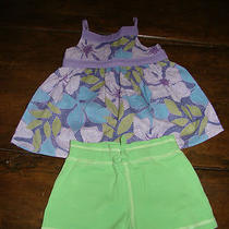 Baby Gap Purple Mosaic Swing Tank Top Green Cotton Shorts 2 2t Photo