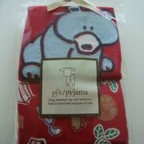Baby Gap Red Bear Long Sleeve Pajamas Pjs Boy Size 4 4t 4 Years - New Photo