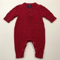 Baby Gap Red Cable Knit Sweater Romper Outfit One Piece Size 0-3 Months Photo