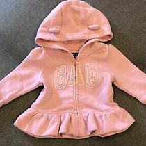 Baby Gap Size 6-12 Months Zip Up Hooded Sweat Shirt Jacket Pink Photo