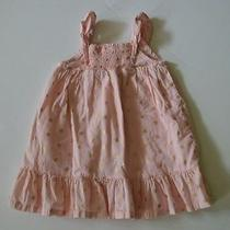 Baby Gap Sundress Size 12-18 Months Pink Blush Gold Wheel Palm Pattern  Photo