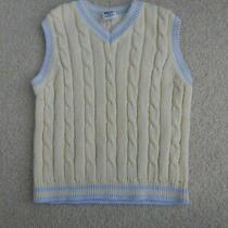 Baby Gap Sweater Vest Boy 2t Yellow W/light Blue Trim 100% Cotton Photo