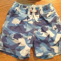 Baby Gap Swim Trunks Blue Fish Camo Shark 18-24 Months 2 T Years Bathing Beach Photo