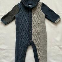 Baby Gap Sz 3-6m Blue & Gray One Piece Cable Knit Sweater Romper Baby Boy Euc Photo