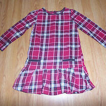Baby Gap Sz 5 Holiday Red Black & White Gold Sparkle Plaid Tunic Dress Photo
