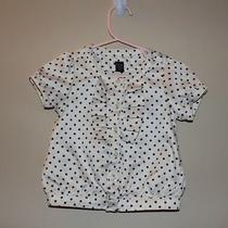 Baby Gap Toddler Baby Girl 18-24 M Silk Like Polka Dot Cream Short Sleeve Blouse Photo